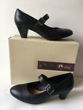 Clarks Artisan Denny Date Black Leather Shoes Size 5.5 E (EUR 39) - Boxed