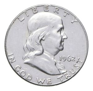 Choice AU/Unc BU 1962 Franklin Half Dollar - 90% Silver *574
