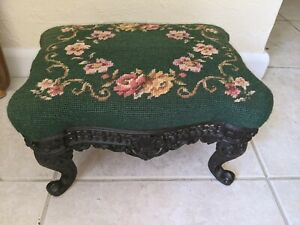 Vintage Needlepoint Victorian Footstool with Ornate Cast Iron Base  Legs 14x11x8