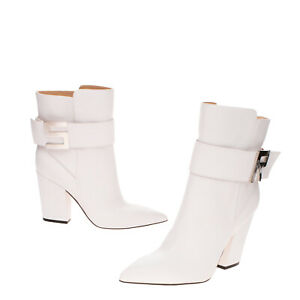 RRP €890 SERGIO ROSSI Leather Ankle Boots Size 37 UK 4 US 7 Strap Made in Italy