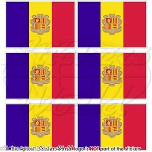 """ANDORRA Andorran Flag 40mm (1.6"""") Mobile Cell Phone Mini Stickers, Decals x6"""