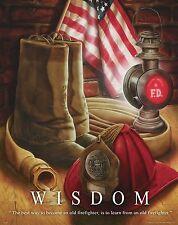 Firefighting Motivational Poster Art Fireman Antique Badge Helmet Tools MVP330