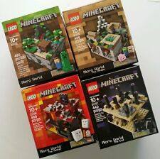 4x MINECRAFT LEGO Sets MICRO WORLD 21107 21106 21105 21102 Village Nether End