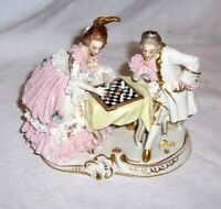 """Vintage Dresden Porcelain Couple Playing Chess 6 """" x 5 """""""