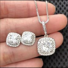 Sterling Silver Plated Necklace + Stud Earring Sets