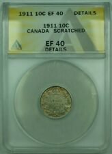 1911 Canda 10c 10 Cent Silver Coin ANACS EF-40 Details Scratched (XF)