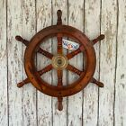 """18"""" Wood Ship Wheel With Brass Center -Large Wooden Ship's Wheel -Nautical Decor"""