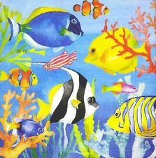 3 x Single Paper Napkins For Decoupage Blue Sea Fish Corals M508