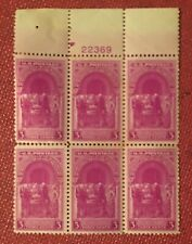 Plate block 6 stamps: Sesquicentennial of the Inauguration Washington #854 MNH