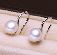 wholesale AAA++ akoya 9-10mm white natural pearl hook earrings