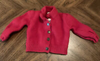 Burberry Baby Infant Girl Sweater Red Snap Front 12-18M 100% Merino Wool