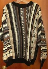 KALEROO outrageous 1980s crewneck sweater XL earth tones Cosby warm tans nature