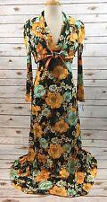 Vintage 70s Green Orange Floral Print Maxi Halter Dress & Tie Front Shrug XS 0/2