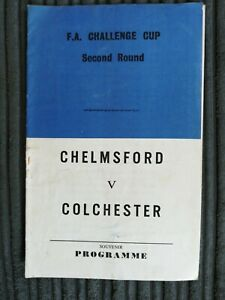 67/8 Chelmsford City vs  Colchester United (FA Cup 2nd Round) *Pirate Programme*