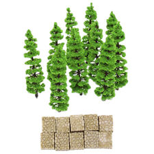 Plastic Park Model Micro Landscape Home Decor Grey Stone with Fir Tree