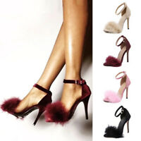 Sexy Womens Ankle Strap High Heels Sandals Faux Fur Open Toe Praty Shoes Size US