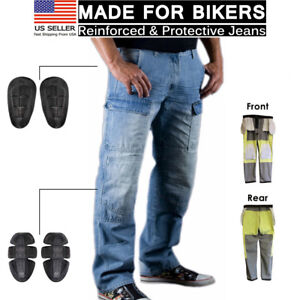Motorcycle Biker Denim Jean Aramid Protective Lining Moto Cargo Knee Armour Pant