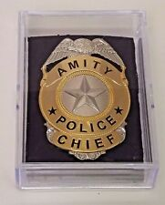 "Jaws Move Amity Police Chief Badge Silver & Gold Toned Metal 3"" - reproduction"