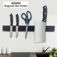 Black Wall Magnetic Strip Knife Holder Utensil Kitchen Tool Storage Rack 400mm