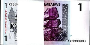Zimbabwe $1 Dollar Uncirculated Bundle 100 Notes 2007