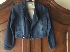 H&M Girls Soft Moto Denim Jacket Size 10-11 years