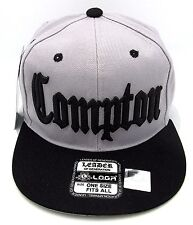 COMPTON Snapback Hat South Central Los Angeles Cap Gray Black LA RAIDERS New
