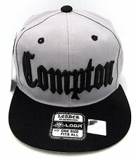COMPTON Snapback Hat South Central Los Angeles California Cap Gray Black New