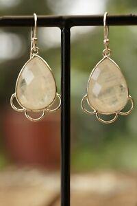 Moonstone Earrings Gemstone Fine Handmade Sterling 925 Silver Earrings