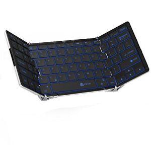 Wireless Folding Keyboard W/3 Color Backlight, Tri-folding Bluetooth For Laptop