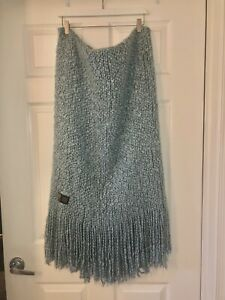 "KENNEBUNK WEAVERS Beach Blue 42x60 plus 9""Fringe edge Woven Knit Throw Blanket"