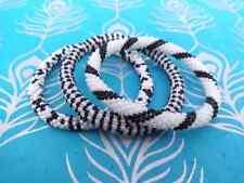 Black, Silver, White Crocheted Beaded Bracelet Set, Handmade in Nepal, BS306