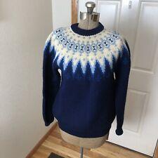 Vintage Siril Norwegian Wool Sweater Blue   Unisex  