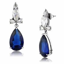 Womens Stainless Steel Pear Cut Big Sapphire CZ Teardrop Dangle Earrings