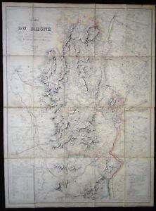 Carte du Rhône et partie de l'Ain Isère Loire Saône et Loire entoilée 1851