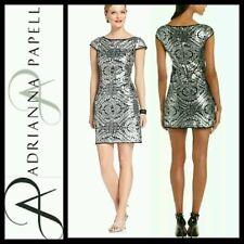 $190 Adrianna Papell Platinum Sequin Print Illusion Brocade Dress ~ 10 M3020