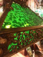 Arts And Crafts Antique Bronze Slag Glass Hanging Lamp