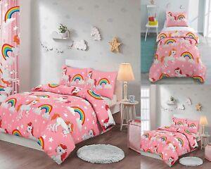 Unicorn Duvet Cover Quilt Bedding Set Throw Curtains Bedspread