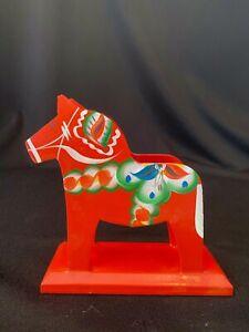Vintage Swedish Red Wood Painted Dala Horse Napkin Mail Holder