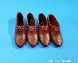 (2) Pair Ken Doll Brown Rubber Shoes Japan Near Mint ~ Vintage 1960's
