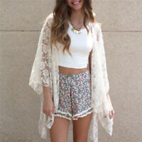 Women Fashion Summer Lace Crochet Kimono Tops Open Front Coat Jacket Cardi 3C