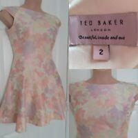 TED BAKER Pastel Pink Cream Floral Sleeveless Skater Dress Size 2 UK 10 Wedding