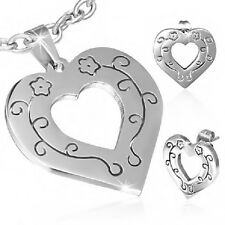Stainless Steel Love Flower Vine Open Heart Pendant & Pair of Stud Earring   d24