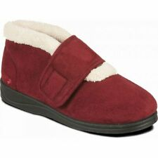 Padders SILENT Womens Ladies Extra Wide EE Comfy Slippers Boots Burgundy Red