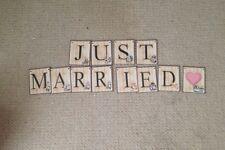 Just Married Alice In Wonderland Wedding Card  Bunting/banner decoration
