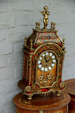 Stunning Xl French boulle cartel bronze putti figurine mantel clock