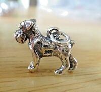 Sterling Silver 3D 14x8x6mm Heavy Schnauzer Dog Charm