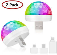 2 Pcs USB Mini LED RGB Disco Stage Light Party Club DJ KTV Magic Phone Ball Lamp