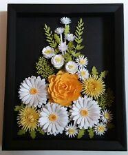 Daisy Rose Flower Arrangement Handmade 3d Wall Art Shadow Box Framed Home Decor