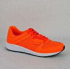 New Gucci Mens Neon Orange Leather Lace-up Running Sneakers 369088 7623