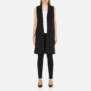 MICHAEL KORS Black Women's Long Trop Wool Vest Blazer UK 12 - BNWT
